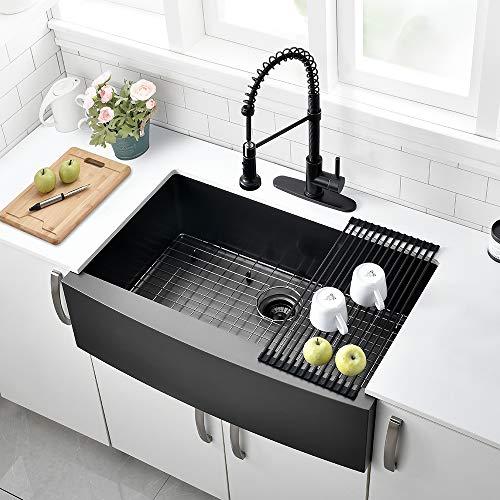 30 Inch Black Farmhouse Sink VOKIM Apron Curved Front Kitchen Sink Single Bowl Gunmetal Matte Black 16 Gauge Stainless Steel Deep Kitchen Farm Sink 0