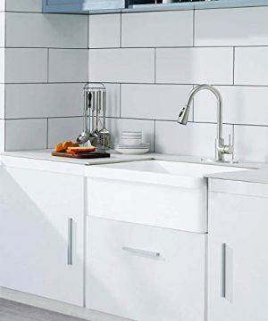 30 White Farmhouse Sink Fireclay Porcelain Reversible Single Bowl Apron Front Kitchen Sink Luxury Unique Design Ceramic Farm Sink With Strainer Protective Bottom Grid 0 0 300x360