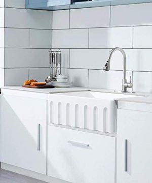30 White Farmhouse Sink Fireclay Porcelain Reversible Single Bowl Apron Front Kitchen Sink Luxury Unique Design Ceramic Farm Sink With Strainer Protective Bottom Grid 0 1 300x360