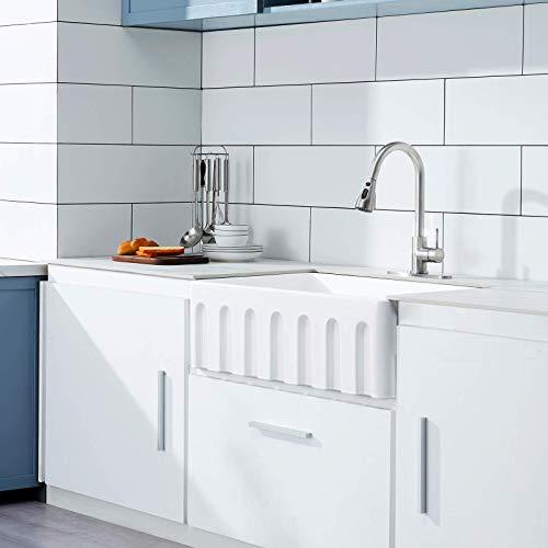 30 White Farmhouse Sink Fireclay Porcelain Reversible Single Bowl Apron Front Kitchen Sink Luxury Unique Design Ceramic Farm Sink With Strainer Protective Bottom Grid 0 1