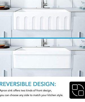 30 White Farmhouse Sink Fireclay Porcelain Reversible Single Bowl Apron Front Kitchen Sink Luxury Unique Design Ceramic Farm Sink With Strainer Protective Bottom Grid 0 2 300x360