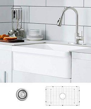 30 White Farmhouse Sink Fireclay Porcelain Reversible Single Bowl Apron Front Kitchen Sink Luxury Unique Design Ceramic Farm Sink With Strainer Protective Bottom Grid 0 300x360