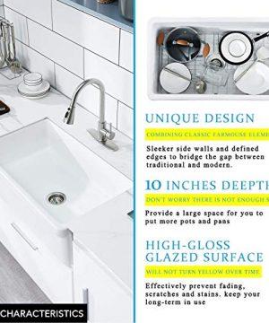 30 White Farmhouse Sink Fireclay Porcelain Reversible Single Bowl Apron Front Kitchen Sink Luxury Unique Design Ceramic Farm Sink With Strainer Protective Bottom Grid 0 4 300x360