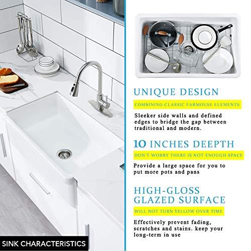 30 White Farmhouse Sink Fireclay Porcelain Reversible Single Bowl Apron Front Kitchen Sink Luxury Unique Design Ceramic Farm Sink With Strainer Protective Bottom Grid 0 4