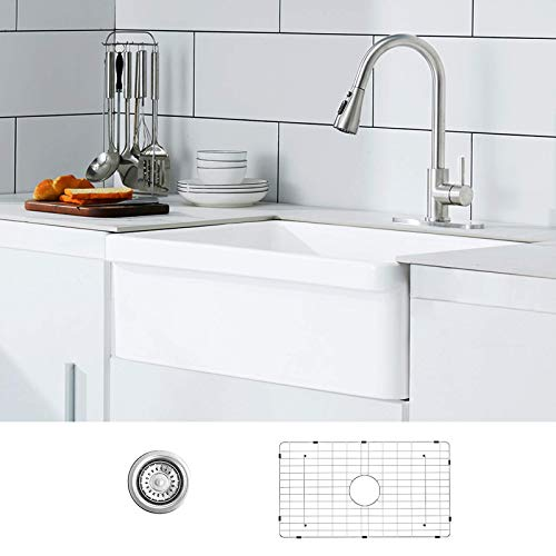 30 White Farmhouse Sink Fireclay Porcelain Reversible Single Bowl Apron Front Kitchen Sink Luxury Unique Design Ceramic Farm Sink With Strainer Protective Bottom Grid 0