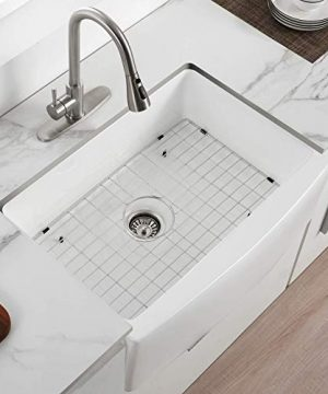 30 X 21 Farmhouse Kitchen Sink Fireclay Porcelain Single Bowl Kitchen Sink White Kitchen Sink With Protective Bottom Grid And Strainer 0 300x360