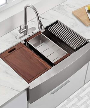 30 X 22 X 9 Inch Farmhouse Kitchen Sink Workstation Ledge 18 Gauge Stainless Steel Sink Modern Apron Front Single Bowl Kitchen Sink 0 0 300x360