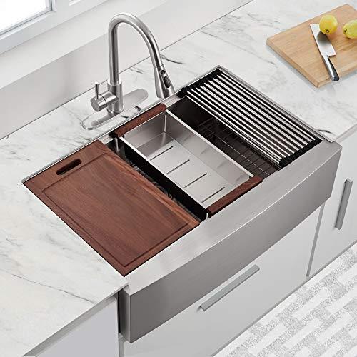 30 X 22 X 9 Inch Farmhouse Kitchen Sink Workstation Ledge 18 Gauge Stainless Steel Sink Modern Apron Front Single Bowl Kitchen Sink 0 0