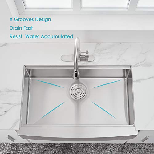 30 X 22 X 9 Inch Farmhouse Kitchen Sink Workstation Ledge 18 Gauge Stainless Steel Sink Modern Apron Front Single Bowl Kitchen Sink 0 1