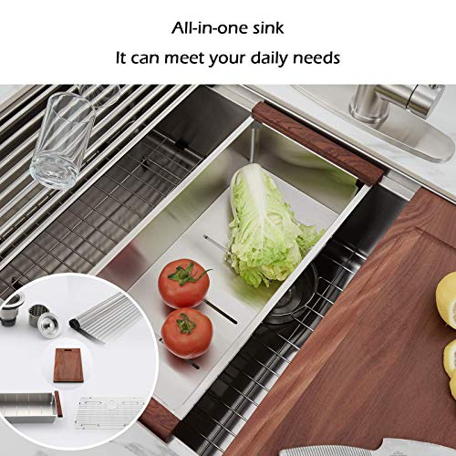 30 X 22 X 9 Inch Farmhouse Kitchen Sink Workstation Ledge 18 Gauge Stainless Steel Sink Modern Apron Front Single Bowl Kitchen Sink 0 2