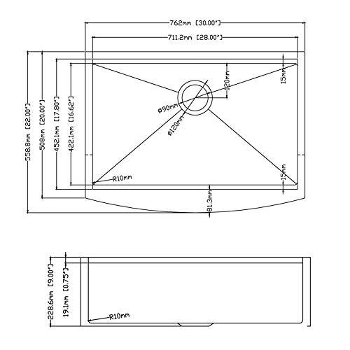 30 X 22 X 9 Inch Farmhouse Kitchen Sink Workstation Ledge 18 Gauge Stainless Steel Sink Modern Apron Front Single Bowl Kitchen Sink 0 3