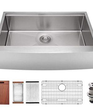 30 X 22 X 9 Inch Farmhouse Kitchen Sink Workstation Ledge 18 Gauge Stainless Steel Sink Modern Apron Front Single Bowl Kitchen Sink 0 300x360