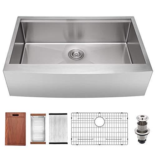 30 X 22 X 9 Inch Farmhouse Kitchen Sink Workstation Ledge 18 Gauge Stainless Steel Sink Modern Apron Front Single Bowl Kitchen Sink 0