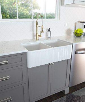 33 Farmhouse Sink Lordear 33 Inch Kitchen Sink Double Bowl Apron Front White Porcelain Ceramic Fireclay Kitchen Farm Sink Basin 0 300x360