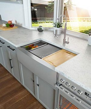 33 Stainless Farmhouse Sink Kichae 33 Inch Kitchen Sink Apron Front Workstation Low Divided Double Bowl 6040 Stainless Steel 18 Gauge Farm Kitchen Sink 0 300x360