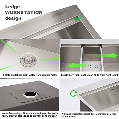 33 Stainless Farmhouse Sink Kichae 33 Inch Kitchen Sink Apron Front Workstation Low Divided Double Bowl 6040 Stainless Steel 18 Gauge Farm Kitchen Sink 0 4