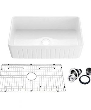 33 White Fireclay Farmhouse Undermount Kitchen Sink With Bottom Grid And Strainer 0 300x360