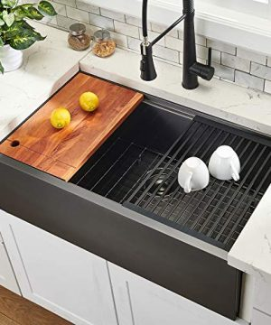 33 Workstation Drop In Farmhouse Black Stainless Steel Ledge Kitchen SInkUndermount Kitchen SInk Single Bowl With Accessories By Hotis 0 300x360