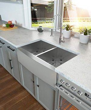36 Double Farmhouse Sink Kichae 36 Inch Kitchen Sink Double Bowl 5050 Stainless Steel 18 Gauge Apron Front Farm Kitchen Sink 0 0 300x360