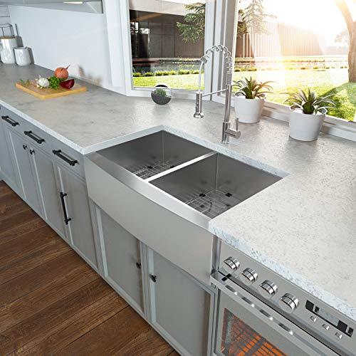 36 Double Farmhouse Sink Kichae 36 Inch Kitchen Sink Double Bowl 5050 Stainless Steel 18 Gauge Apron Front Farm Kitchen Sink 0 0