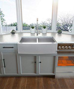 36 Double Farmhouse Sink Kichae 36 Inch Kitchen Sink Double Bowl 5050 Stainless Steel 18 Gauge Apron Front Farm Kitchen Sink 0 1 300x360