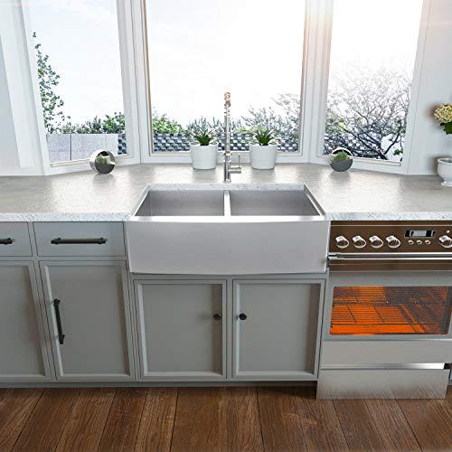 36 Double Farmhouse Sink Kichae 36 Inch Kitchen Sink Double Bowl 5050 Stainless Steel 18 Gauge Apron Front Farm Kitchen Sink 0 1