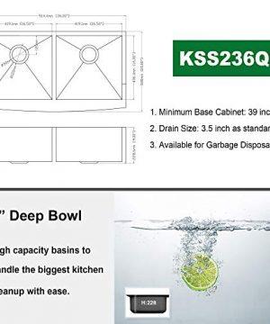 36 Double Farmhouse Sink Kichae 36 Inch Kitchen Sink Double Bowl 5050 Stainless Steel 18 Gauge Apron Front Farm Kitchen Sink 0 4 300x360