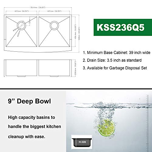 36 Double Farmhouse Sink Kichae 36 Inch Kitchen Sink Double Bowl 5050 Stainless Steel 18 Gauge Apron Front Farm Kitchen Sink 0 4