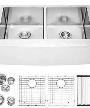 36 Farmhouse Sink Double Bowl Lordear 36 Inch Stainless Steel Kitchen Sink 16 Gauge Apron Front Double Bowl 5050 Kitchen Farm Sink 0 300x360