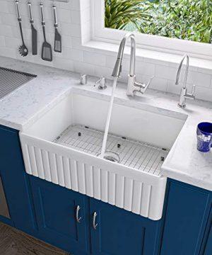 ALFI Brand AB509 White 30 Inch Fluted Single Bowl Fireclay Farmhouse Kitchen Sink White 0 300x360