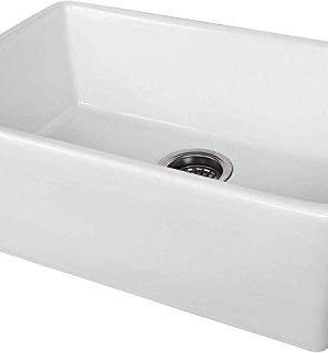 ALWEN 24 Inch White Farmhouse Kitchen Sink Fireclay Apron Front Sink Ceramic Single Bowl Kitchen Sinks Modern Luxury Sink With Drain 0 2 300x322