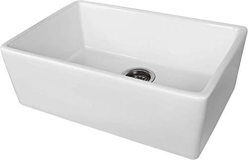 ALWEN 24 Inch White Farmhouse Kitchen Sink Fireclay Apron Front Sink Ceramic Single Bowl Kitchen Sinks Modern Luxury Sink With Drain 0 2