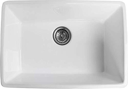 ALWEN 24 Inch White Farmhouse Kitchen Sink Fireclay Apron Front Sink Ceramic Single Bowl Kitchen Sinks Modern Luxury Sink With Drain 0 3