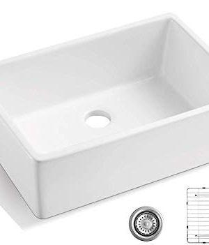 ALWEN 24 Inch White Farmhouse Kitchen Sink Fireclay Apron Front Sink Ceramic Single Bowl Kitchen Sinks Modern Luxury Sink With Drain 0 300x351