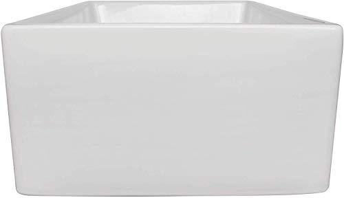 ALWEN 24 Inch White Farmhouse Kitchen Sink Fireclay Apron Front Sink Ceramic Single Bowl Kitchen Sinks Modern Luxury Sink With Drain 0 4
