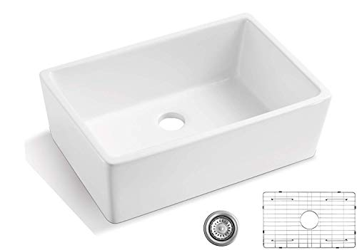 ALWEN 24 Inch White Farmhouse Kitchen Sink Fireclay Apron Front Sink Ceramic Single Bowl Kitchen Sinks Modern Luxury Sink With Drain 0
