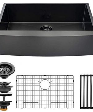 ALWEN 30 Inch Black Apron Front Farmhouse Kitchen Sink 16 Gauge Stainless Steel Single Bowl Kitchen Sink Matte Black Modern Luxury Farm Sink 0 300x360