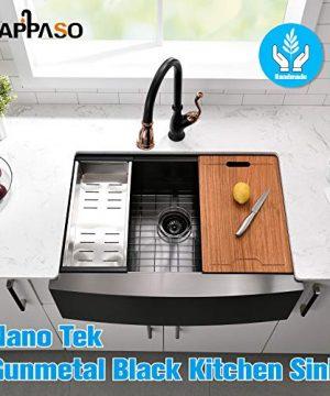 APPASO 30 X 22 Inchs Apron Kitchen Sink Undermount Gunmetal Black Single Bowl Workstation 16 Gauge Stainless Steel Farmhouse Kitchen Sink With Nano Surface Matte Black AP3022 0 0 300x360
