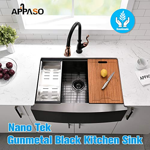APPASO 30 X 22 Inchs Apron Kitchen Sink Undermount Gunmetal Black Single Bowl Workstation 16 Gauge Stainless Steel Farmhouse Kitchen Sink With Nano Surface Matte Black AP3022 0 0