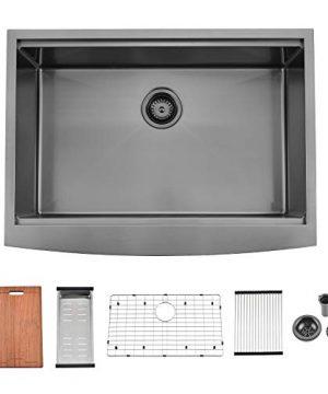 APPASO 30 X 22 Inchs Apron Kitchen Sink Undermount Gunmetal Black Single Bowl Workstation 16 Gauge Stainless Steel Farmhouse Kitchen Sink With Nano Surface Matte Black AP3022 0 300x360