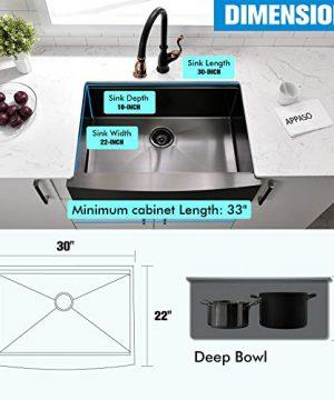 APPASO 30 X 22 Inchs Apron Kitchen Sink Undermount Gunmetal Black Single Bowl Workstation 16 Gauge Stainless Steel Farmhouse Kitchen Sink With Nano Surface Matte Black AP3022 0 4 300x360