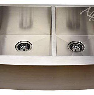 Alpha 30 Stainless Steel Apron Farmhouse 6040 Double Bowl 16 Gauge Undermount Kitchen Sink 0 300x305