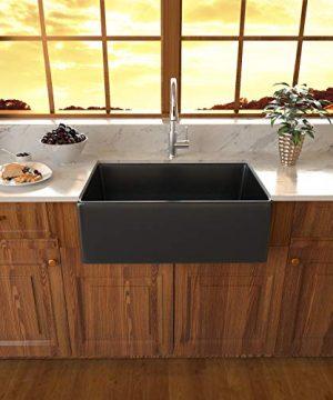 Black Fireclay Farmhouse Sink Sarlai 30 Inch Kitchen Sink Apron Front Matte Black Ceramic Porcelain Vitreous Fireclay Deep Single Bowl Right Angle Farmer Sink Basin 0 0 300x360
