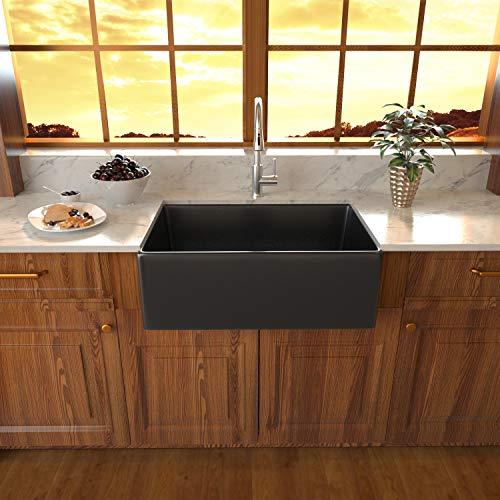 Black Fireclay Farmhouse Sink Sarlai 30 Inch Kitchen Sink Apron Front Matte Black Ceramic Porcelain Vitreous Fireclay Deep Single Bowl Right Angle Farmer Sink Basin 0 0