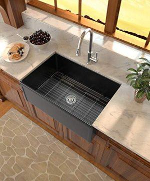 Black Fireclay Farmhouse Sink Sarlai 30 Inch Kitchen Sink Apron Front Matte Black Ceramic Porcelain Vitreous Fireclay Deep Single Bowl Right Angle Farmer Sink Basin 0 300x360