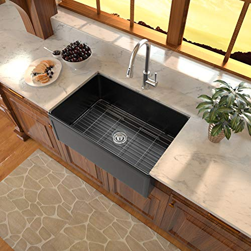 Black Fireclay Farmhouse Sink Sarlai 30 Inch Kitchen Sink Apron Front Matte Black Ceramic Porcelain Vitreous Fireclay Deep Single Bowl Right Angle Farmer Sink Basin 0