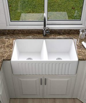 DeerValley DV 1K028 White Double Basin Farmhouse Kitchen Sink Apron Front Porcelain Ceramic Bowl Kitchen Sinks 0 300x360