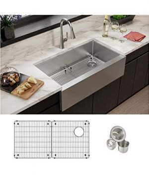 Elkay EFRUFF3417RDBG Stainless Steel Single Bowl Farmhouse Sink Kit 10 Apron Bottom Grids And Drains Included 0 300x360