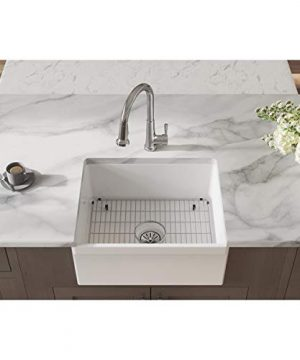 Elkay SWUF2520WHFC Fireclay Single Bowl Farmhouse Sink Kit With Faucet 24 716 White 0 300x360
