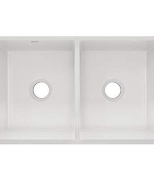 Elkay SWUF32189WH Fireclay Equal Double Bowl Farmhouse Sink White 0 0 300x360